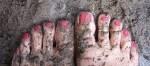 pink muddy toes